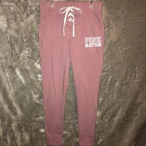 PINK XS Cotton Sweatpants Lace Elastic Waist